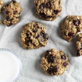 zucchini oatmeal cookies on a linen