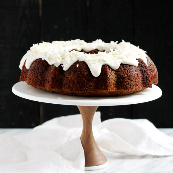 carrot zucchini cake on a cake stand