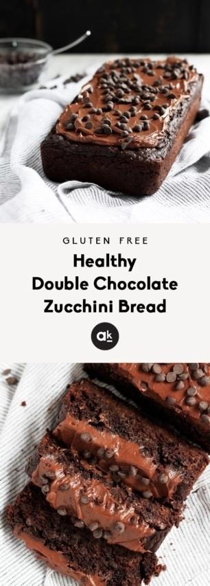 collage of double chocolate zucchini bread