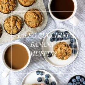 paleo zucchini muffins with text overlay
