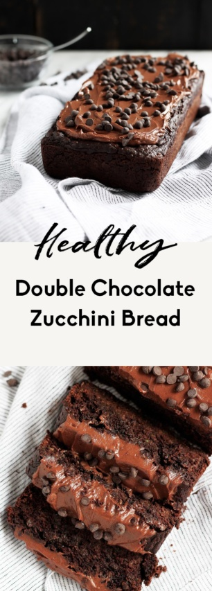 collage of healthy chocolate zucchini bread