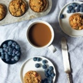 paleo zucchini banana muffins on two plates and in a muffin tin