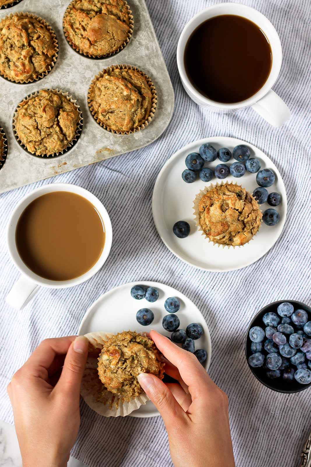 Scrumptious paleo banana zucchini muffins made with coconut flour and cashew butter. These flavorful muffins are low in sugar and high in protein and are also dairy free & gluten free!