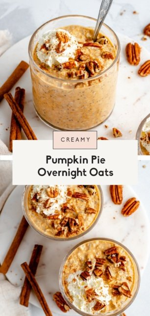 collage of healthy pumpkin overnight oats