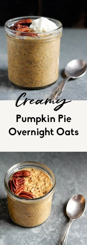 collage of pumpkin overnight oats