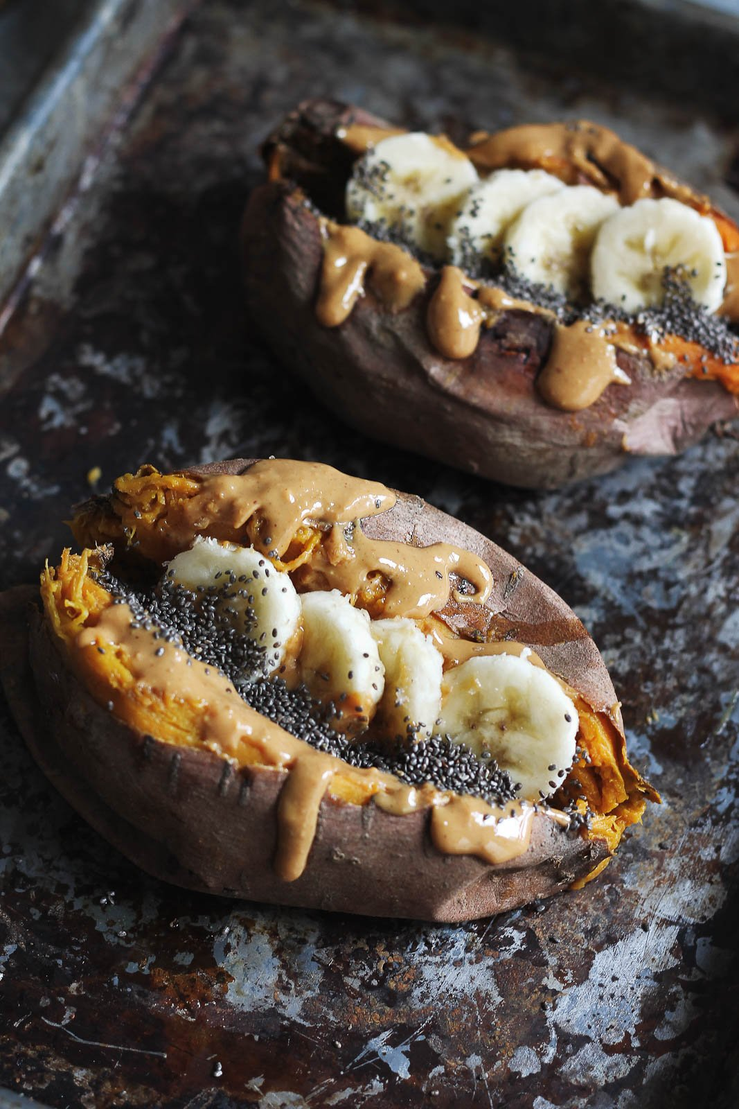 Breakfast Baked Sweet Potatoes with Almond Butter | Ambitious Kitchen