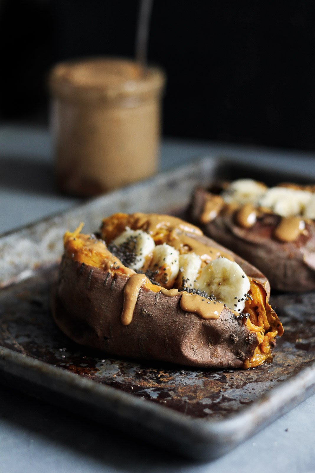 Breakfast Baked Sweet Potatoes with Almond Butter, Banana & Chia