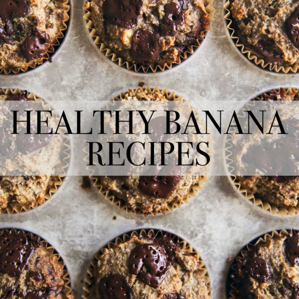 healthy banana muffins with text overlay
