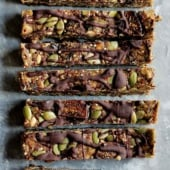 nut free granola bars in a line