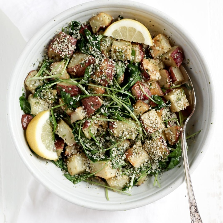 A new potato salad to try: Roasted Garlic Basil Pesto Potatoes with Arugula from the Oh She Glows Every Day cookbook. Delicious, satisfying and a wonderful side dish!
