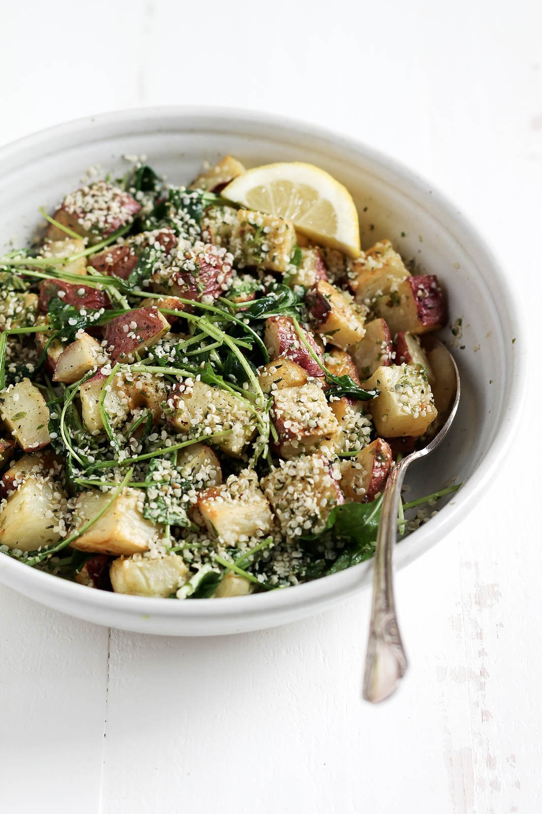 new potato salad to try: Roasted Garlic Basil Pesto Potatoes with ...
