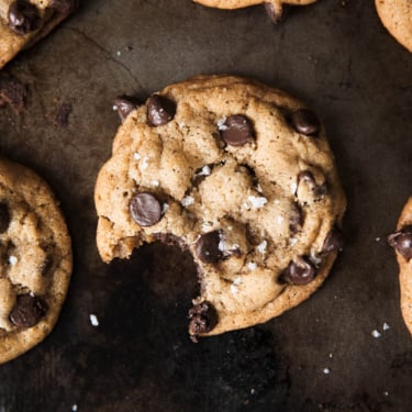 Best Brown Butter Chocolate Chip Cookies on a baking sheet