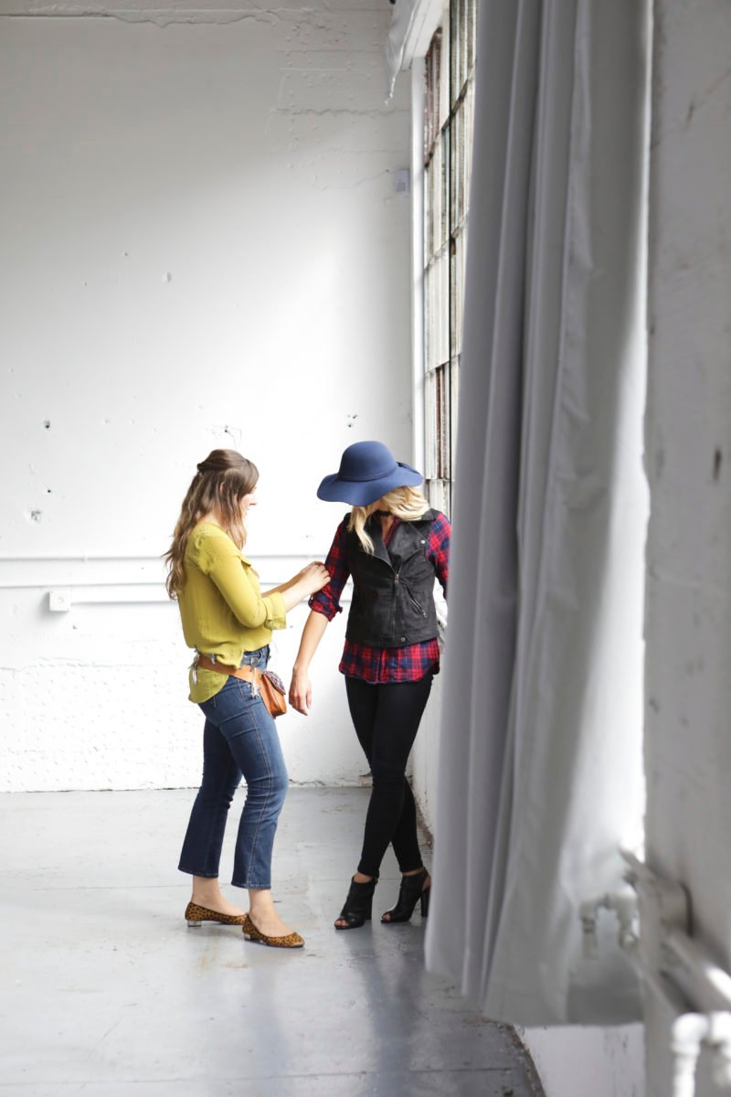 two women styling an outfit