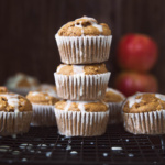 healthy apple oatmeal muffins in a stack