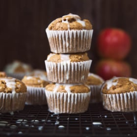 healthy apple recipes: Healthy Apple Oatmeal Muffins in a stack