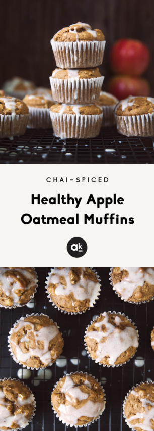 collage of healthy apple oatmeal muffins