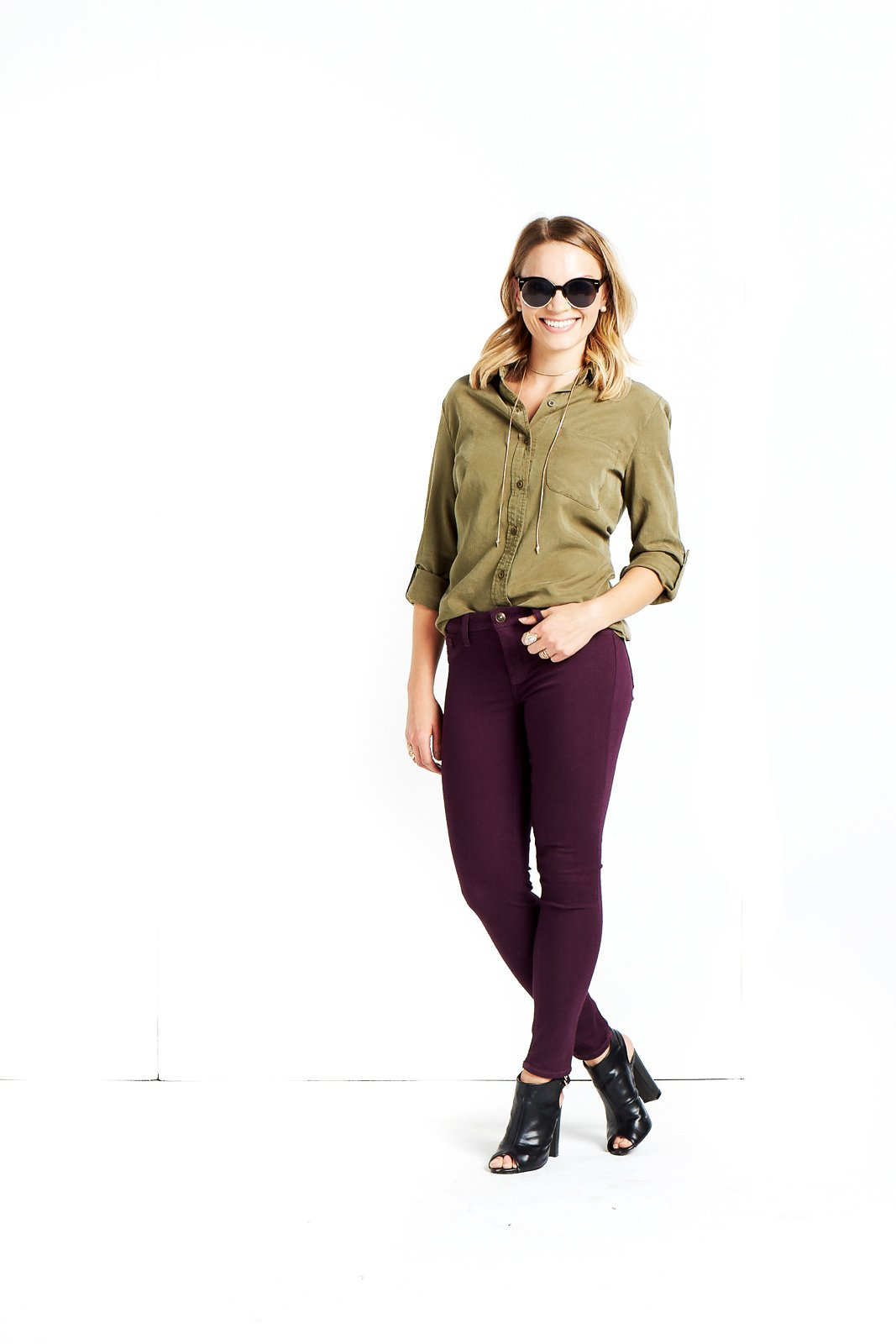 Military is super trendy right now! Try picking up a green button up and pair it with something fun like colorful or distressed jeans!