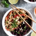 Meal Prep Idea: Slow Cooker Thai Peanut Chicken with Sticky Coconut Purple Rice
