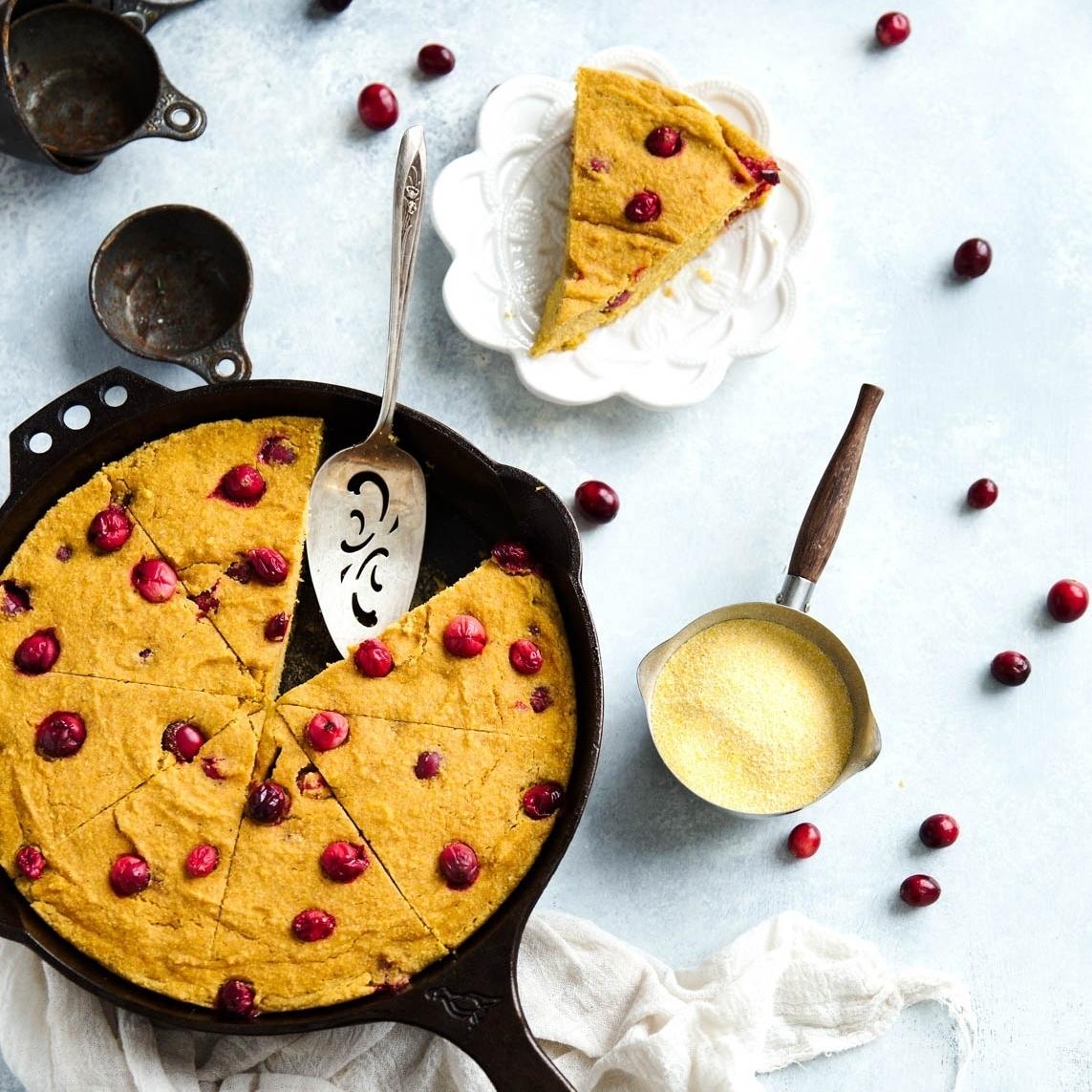 Brown Butter Cranberry Pumpkin Cornbread Skillet Ambitious Kitchen