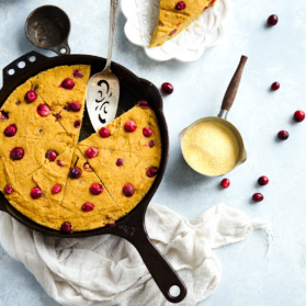 pumpkin cornbread skillet with cranberries
