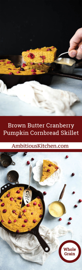 Pumpkin Cornbread is a lightened up the traditional version! Made with whole grains, pumpkin, maple syrup, a hint of brown butter and tart cranberries.