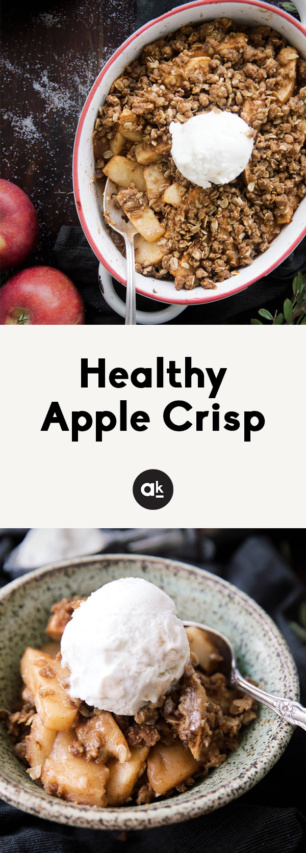 collage of healthy apple crisp