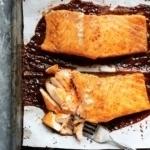 maple glazed salmon on a sheet pan
