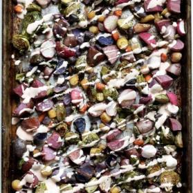 roasted rainbow veggies on a baking sheet