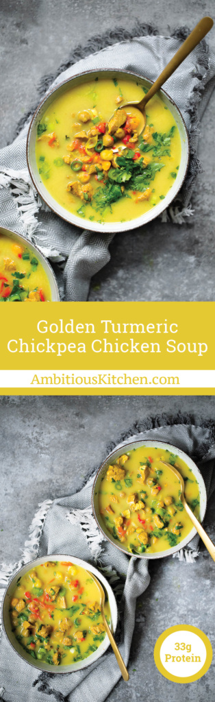 Golden Turmeric Chicken Soup with chickpeas and sweet potatoes. Flavored with ginger, garlic, coconut milk and a touch of peanut butter.