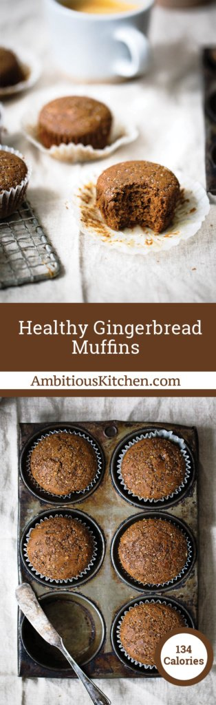 Healthy gingerbread muffins that are incredibly fluffy, warm and perfect with a cup of coffee. One of my favorite muffins to enjoy during the Winter.