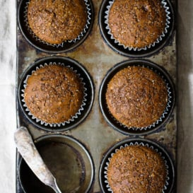 Healthy gingerbread muffins in a muffin tin