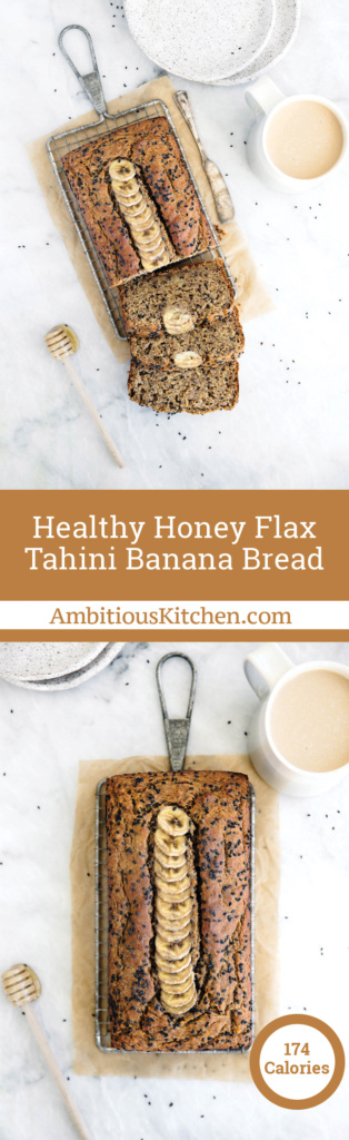 A unique take on banana bread: Healthy Tahini Banana Bread made with whole wheat flour, flaxseed, sesame seeds & naturally sweetened with honey.