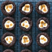 Delicious little brownie bites that taste like your favorite cup of hot cocoa. These bites are a perfect treat and only take 15 minutes to make! Made with Simple Mills tasty grain free chocolate baking mix!