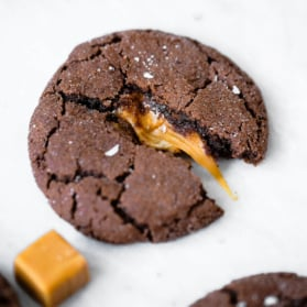 chocolate snickerdoodles stuffed with caramel