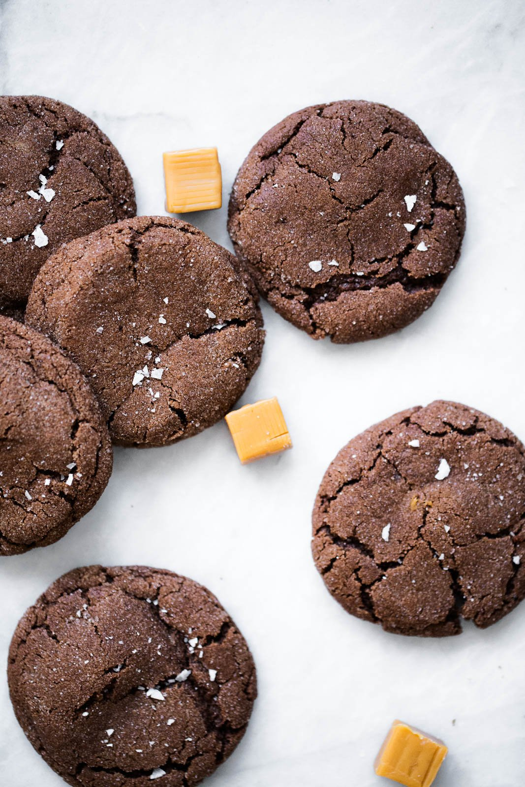 chocolate snickerdoodles with caramels
