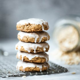 brown butter oatmeal cookies in a stack