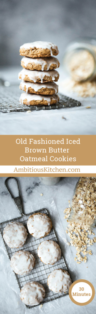Brown butter oatmeal cookies have a delicious caramel like flavor and are slightly crispy on the edges and chewy in the middle. Finished with a light icing.