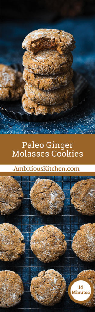 Soft paleo ginger molasses cookies that taste like the holiday time favorite you know and love. These grain free treats are delicious and dairy free!