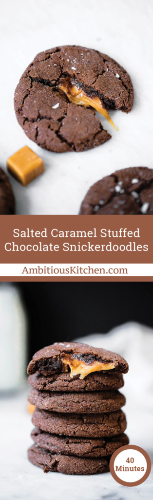 These chocolate snickerdoodles are stuffed with caramel and sprinkled with sea salt to make one of the best cookies you'll ever eat.