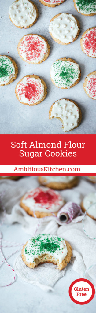 Soft almond flour sugar cookies that taste just like the lofthouse version but with better ingredients! Both gluten free & paleo. These are unreal.