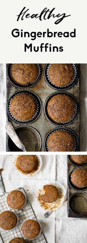 collage of healthy gingerbread muffins