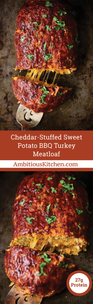 Outrageously delicious & healthy sweet potato BBQ turkey meatloaf stuffed with sharp cheddar cheese. Easy to make and bound to become a dinner staple!