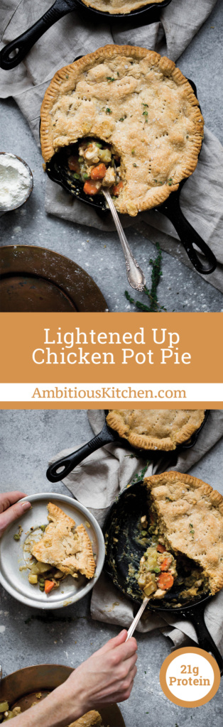 Lightened up healthy chicken pot pie made with a whole grain flaky crust and sauce made with almond milk & chicken broth instead of butter and cream!