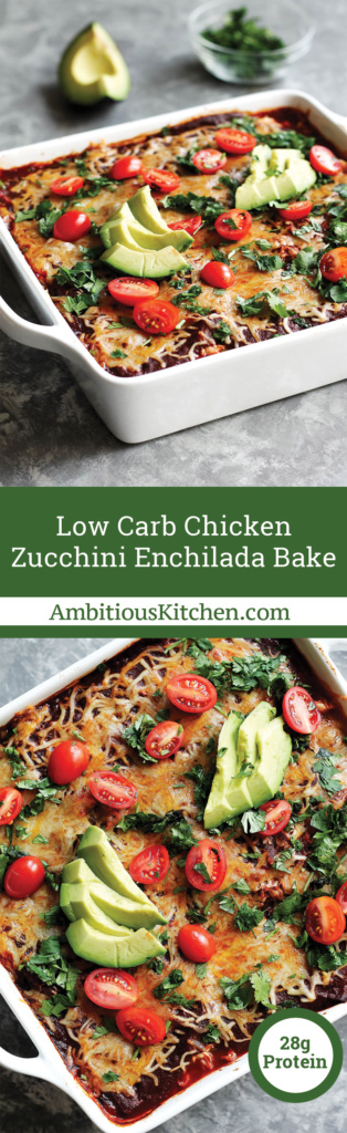 Low carb chicken zucchini enchilada bake with layers upon layers of flavorful goodness: Refried beans, cheese, chicken, zucchini & homemade enchilada sauce!
