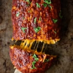 sweet potato bbq turkey meatloaf stuffed with cheese