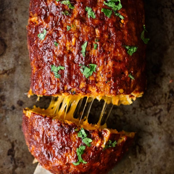 healthy sweet potato BBQ turkey meatloaf stuffed with cheese