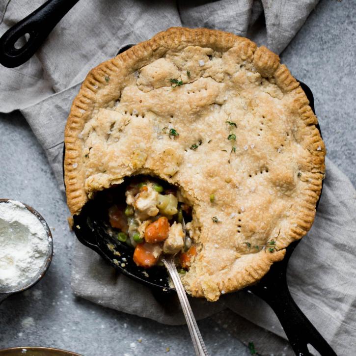 healthy chicken pot pie in a skillet