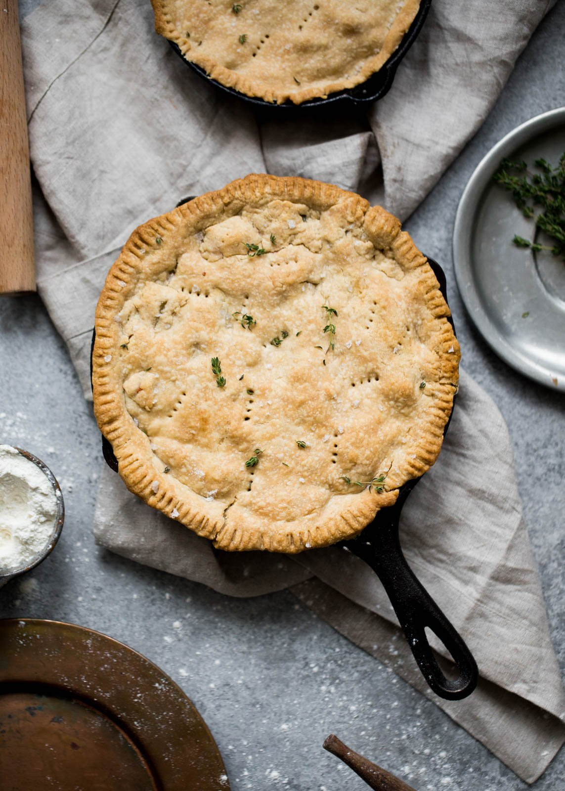 healthy chicken pot pie in a skillet