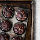 Healthy double chocolate banana muffins made with whole grains and greek yogurt. No added sugar so you can feel good having chocolate for breakfast!