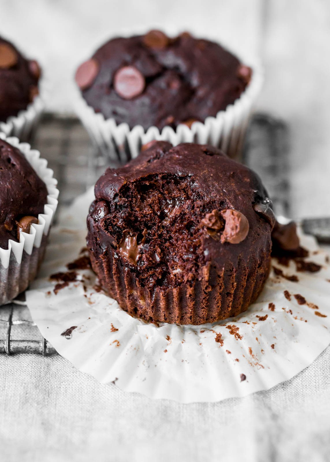 chocolate banana muffins in muffin liners